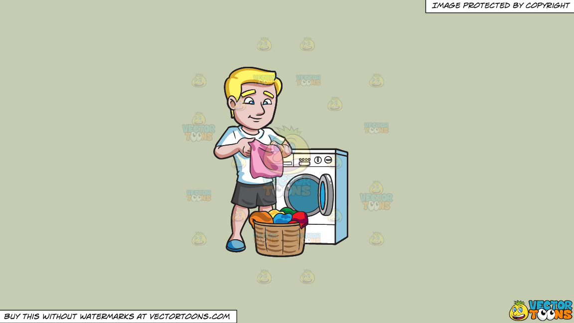 A Man Folding Clothes After Laundry On A Solid Pale Silver C6ccb2 Background thumbnail