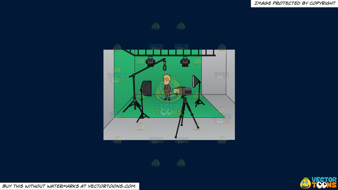 A Man Gets Ready To Film Inside A Studio On A Solid Dark Blue 011936 Background thumbnail