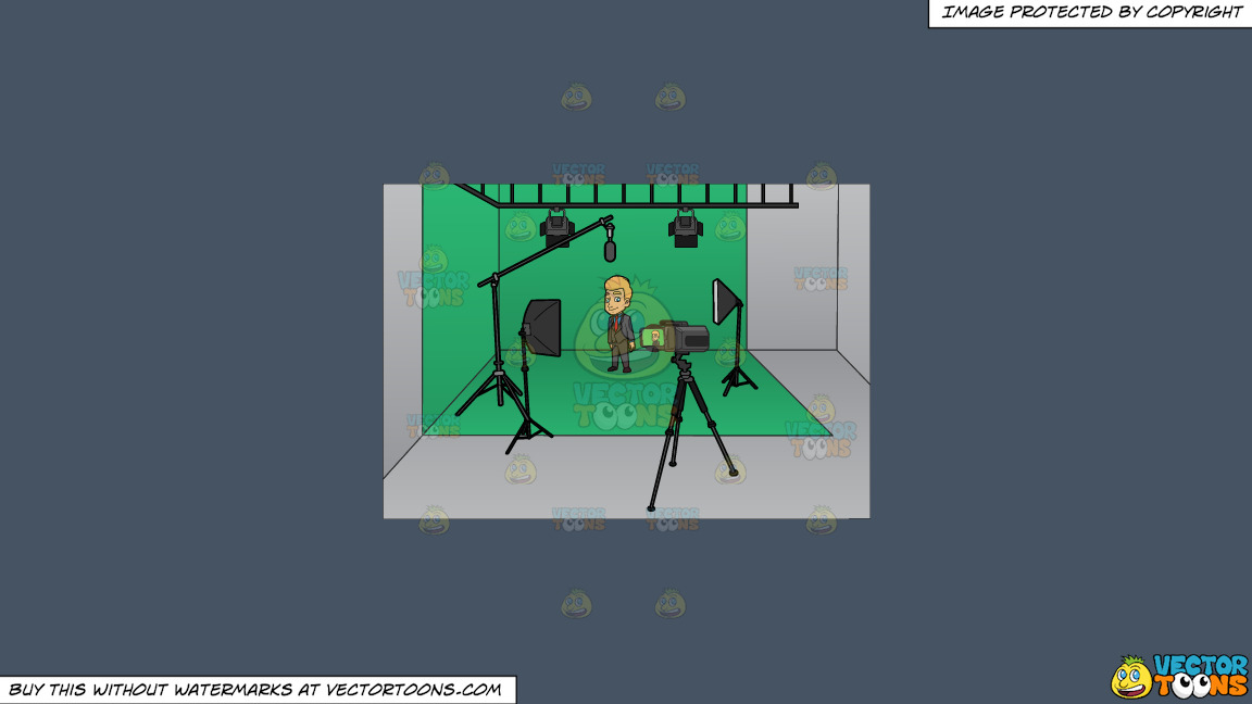 A Man Gets Ready To Film Inside A Studio On A Solid Metal Grey 465362 Background thumbnail