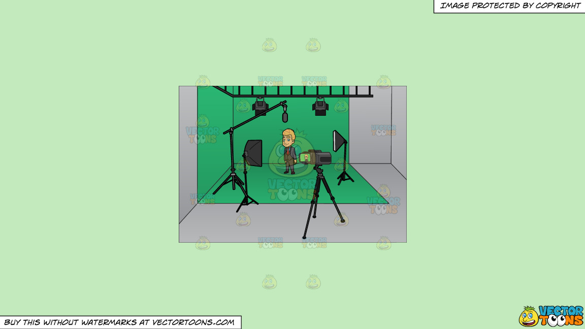 A Man Gets Ready To Film Inside A Studio On A Solid Tea Green C2eabd Background thumbnail