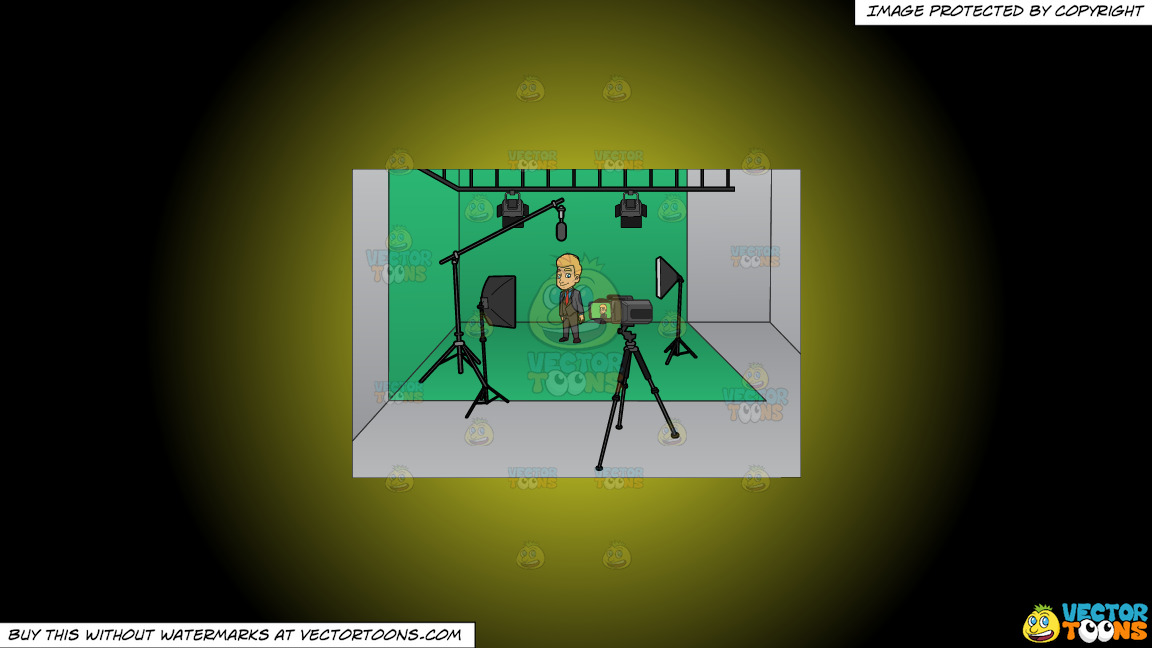 A Man Gets Ready To Film Inside A Studio On A Yellow And Black Gradient Background thumbnail