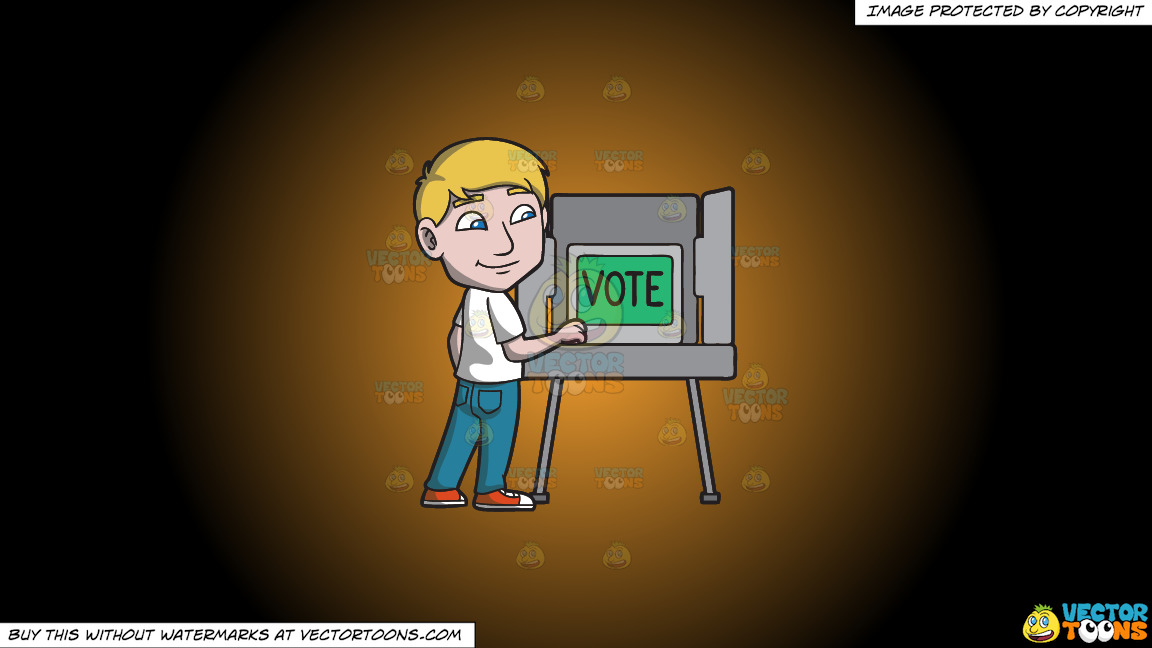 A Man Gets Ready To Vote During The Election On A Orange And Black Gradient Background thumbnail