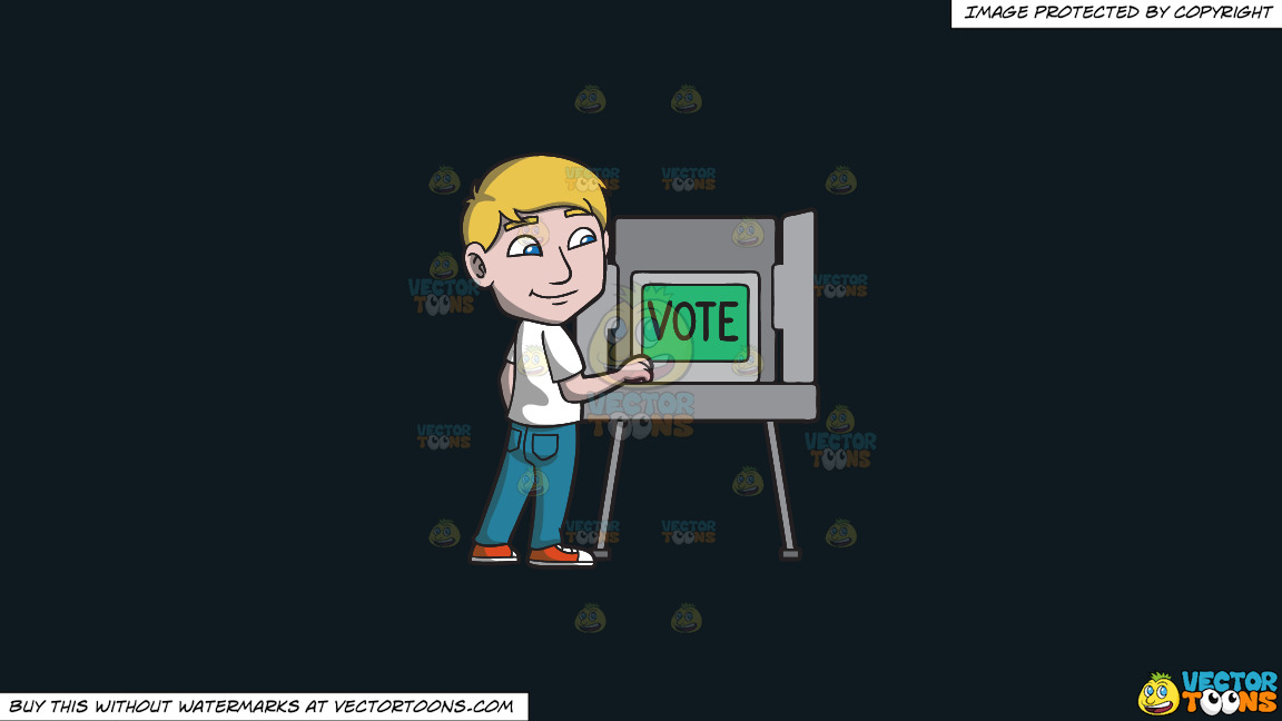A Man Gets Ready To Vote During The Election On A Solid Off Black 0f1a20 Background thumbnail