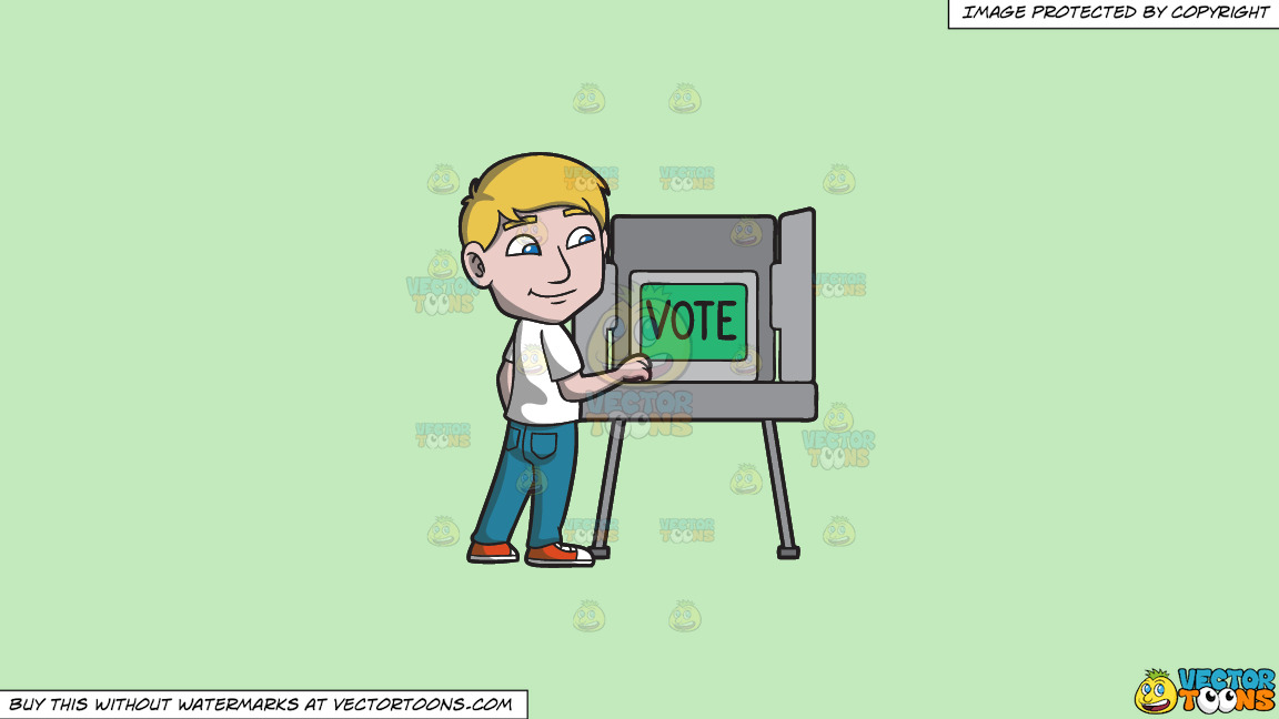 A Man Gets Ready To Vote During The Election On A Solid Tea Green C2eabd Background thumbnail