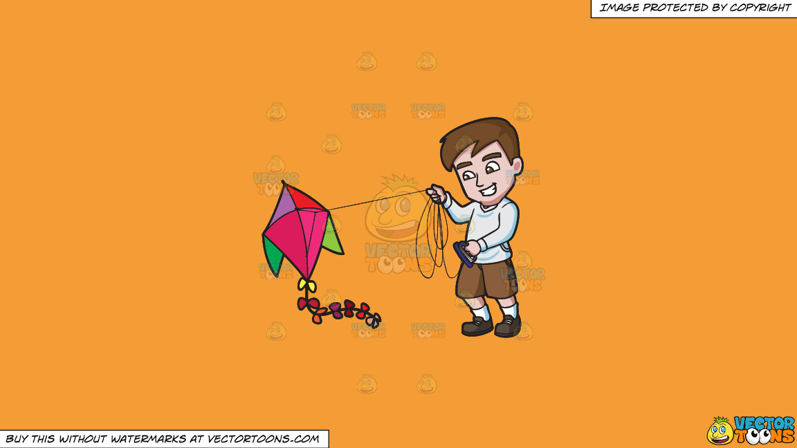 A Man Getting Excited To Fly His Kite On A Solid Deep Saffron Gold F49d37 Background thumbnail