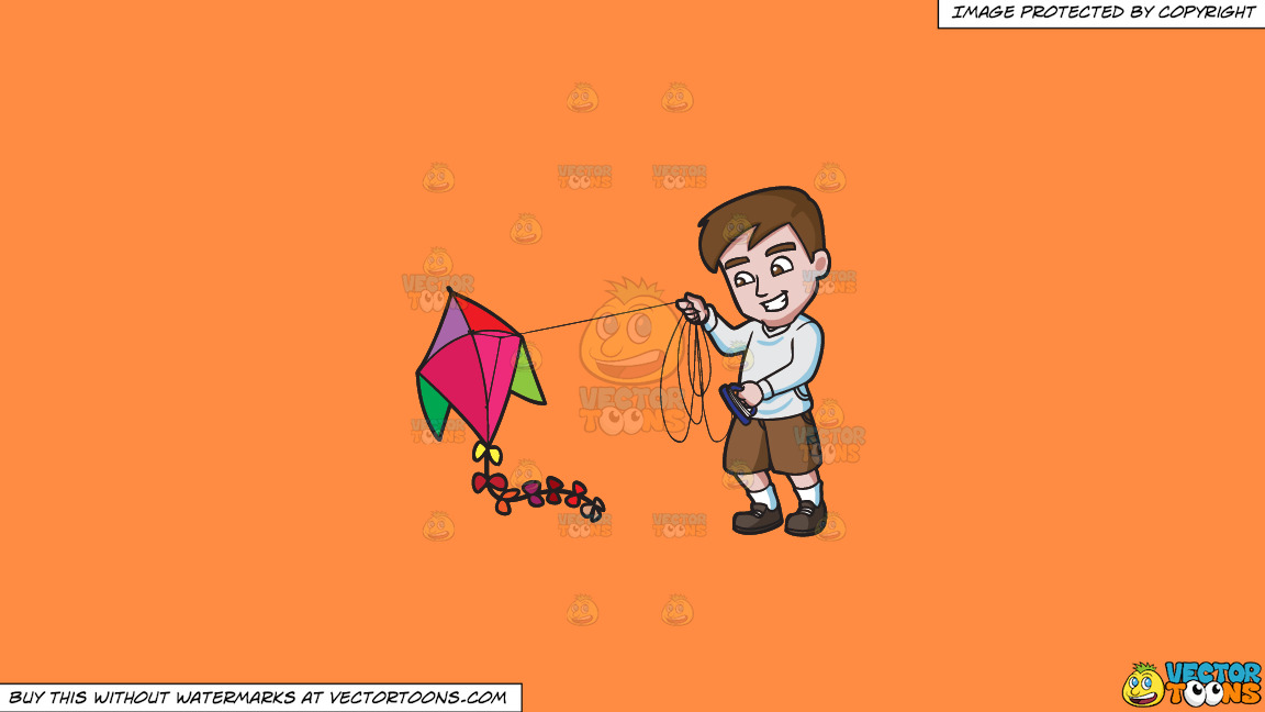 A Man Getting Excited To Fly His Kite On A Solid Mango Orange Ff8c42 Background thumbnail