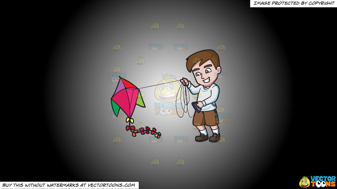 A Man Getting Excited To Fly His Kite On A White And Black Gradient Background thumbnail