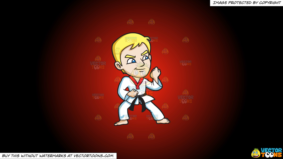 A Man Getting Ready For A Taekwondo Training On A Red And Black Gradient Background thumbnail