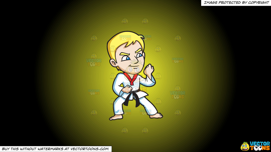 A Man Getting Ready For A Taekwondo Training On A Yellow And Black Gradient Background thumbnail