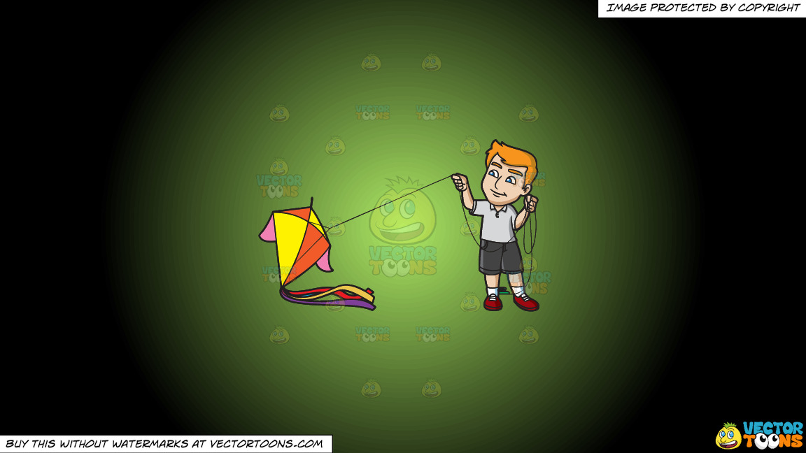 A Man Getting Ready To Fly A Big Kite On A Green And Black Gradient Background thumbnail