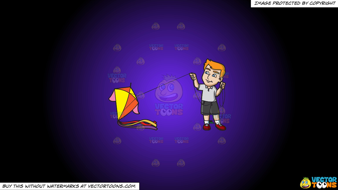 A Man Getting Ready To Fly A Big Kite On A Purple And Black Gradient Background thumbnail