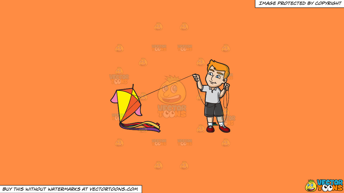 A Man Getting Ready To Fly A Big Kite On A Solid Mango Orange Ff8c42 Background thumbnail