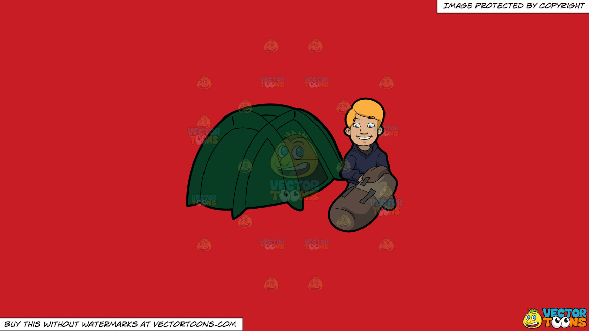 A Man Getting Ready To Get Cozy In His Tent On A Solid Fire Engine Red C81d25 Background thumbnail