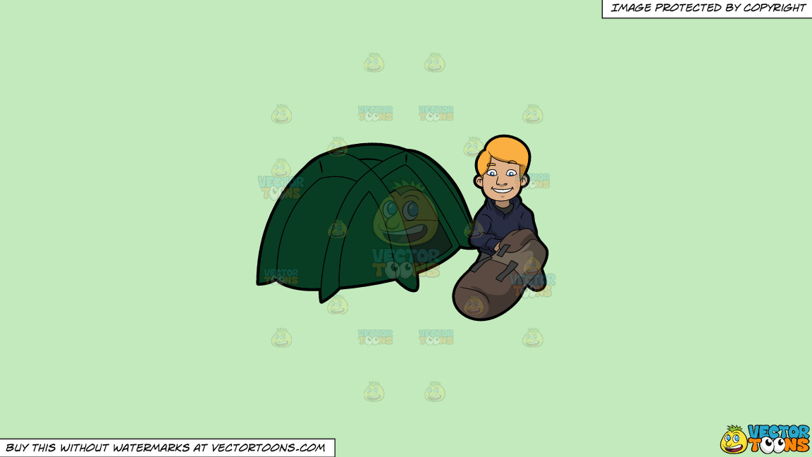 A Man Getting Ready To Get Cozy In His Tent On A Solid Tea Green C2eabd Background thumbnail