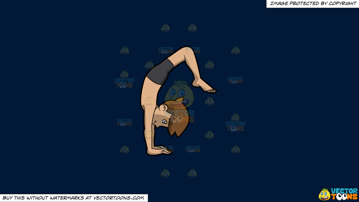 A Man Going Into Upward Wheel Yoga Pose On A Solid Dark Blue 011936 Background thumbnail