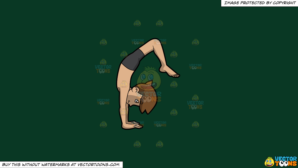 A Man Going Into Upward Wheel Yoga Pose On A Solid Dark Green 093824 Background thumbnail