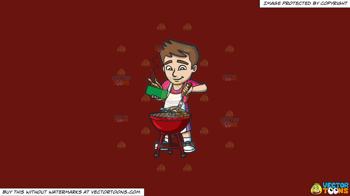A Man Grilling Chicken On A Solid Maroon 69140e Background thumbnail
