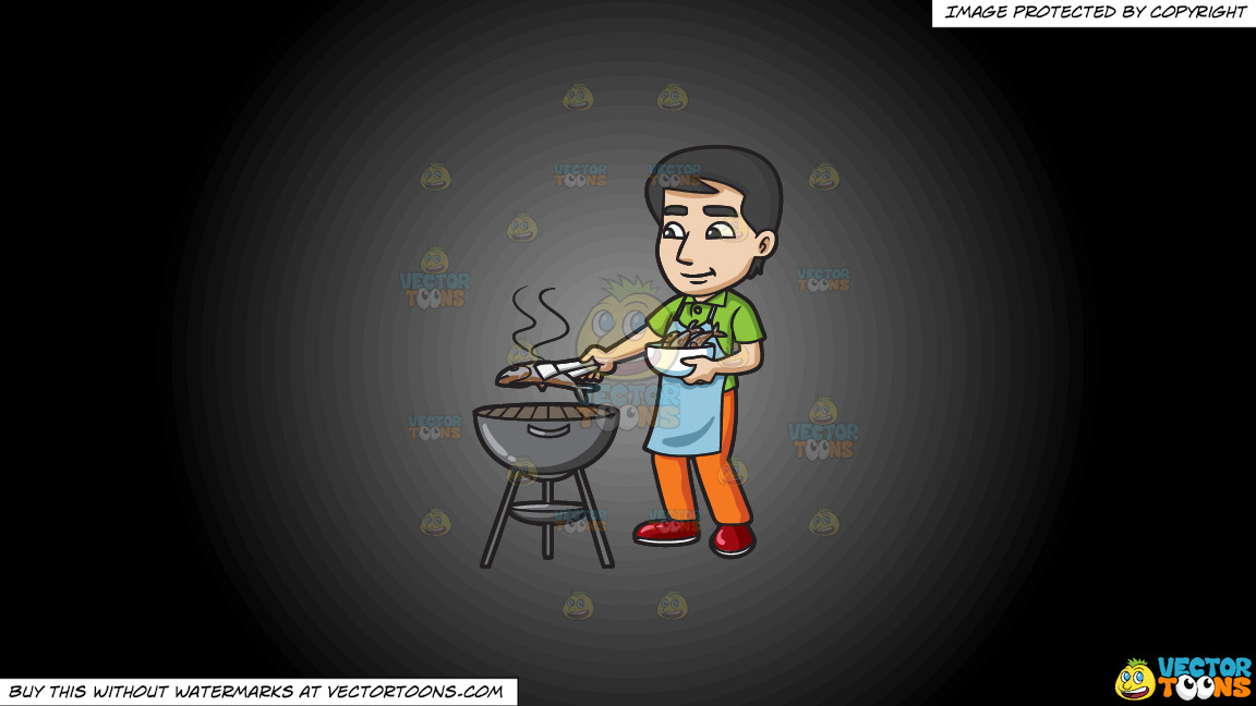 A Man Grilling Fish On The Bbq On A Grey And Black Gradient Background thumbnail