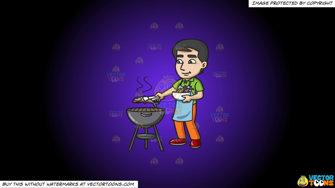 A Man Grilling Fish On The Bbq On A Purple And Black Gradient Background thumbnail