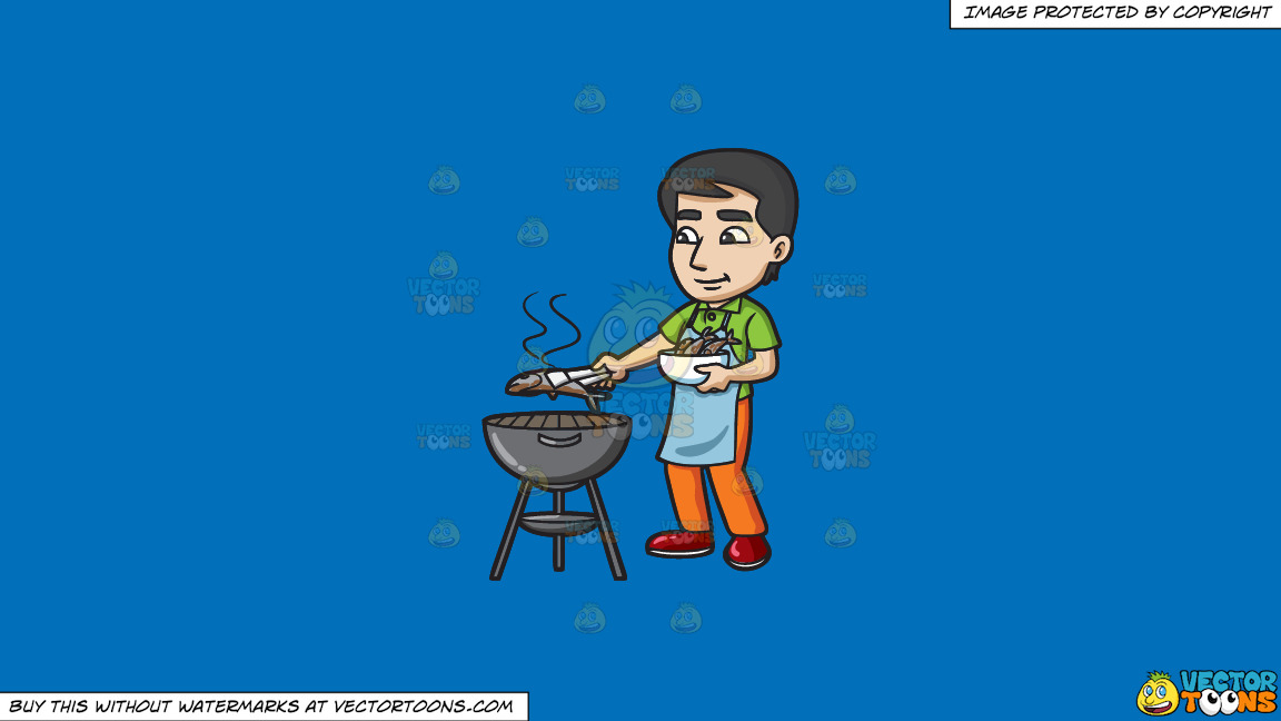 A Man Grilling Fish On The Bbq On A Solid Spanish Blue 016fb9 Background thumbnail