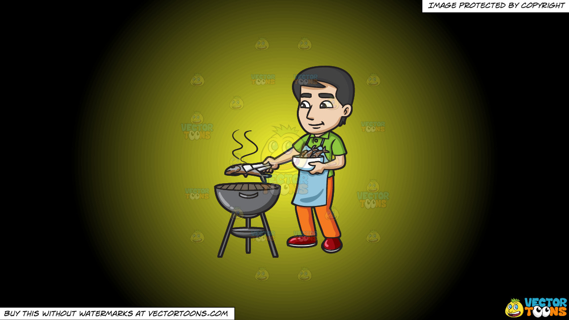 A Man Grilling Fish On The Bbq On A Yellow And Black Gradient Background thumbnail
