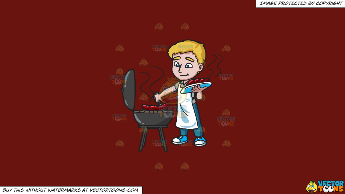 A Man Grilling Hot Dogs On A Solid Maroon 69140e Background thumbnail