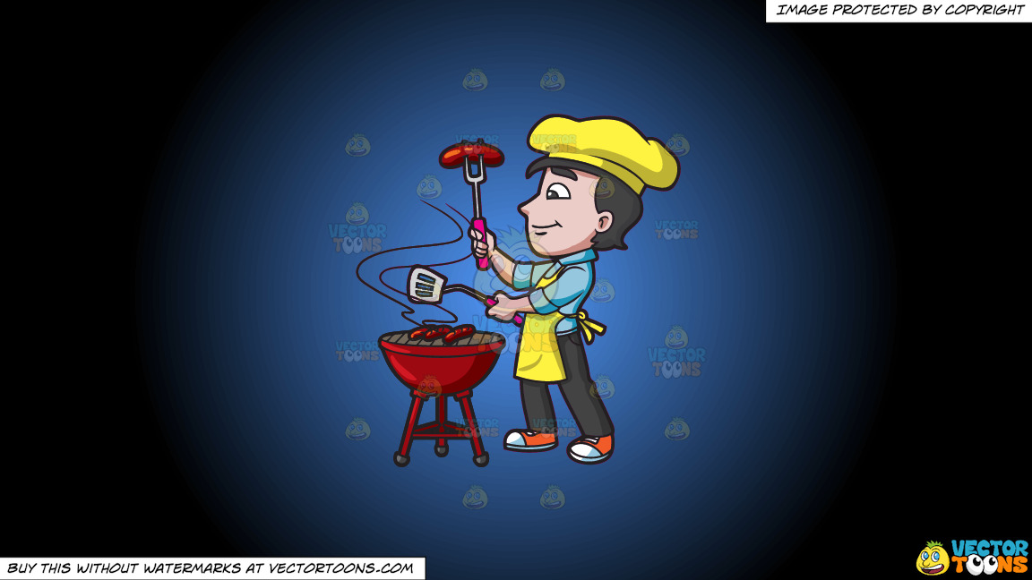 A Man Grilling Sausages On A Blue And Black Gradient Background thumbnail