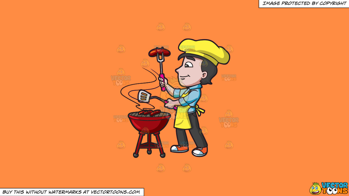 A Man Grilling Sausages On A Solid Mango Orange Ff8c42 Background thumbnail