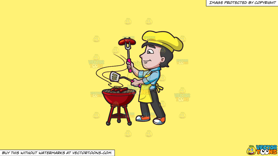 A Man Grilling Sausages On A Solid Sunny Yellow Fff275 Background thumbnail