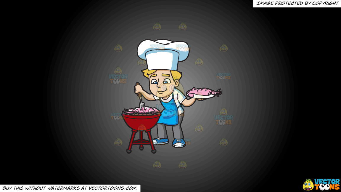 A Man Grilling Seafood On A Grey And Black Gradient Background thumbnail