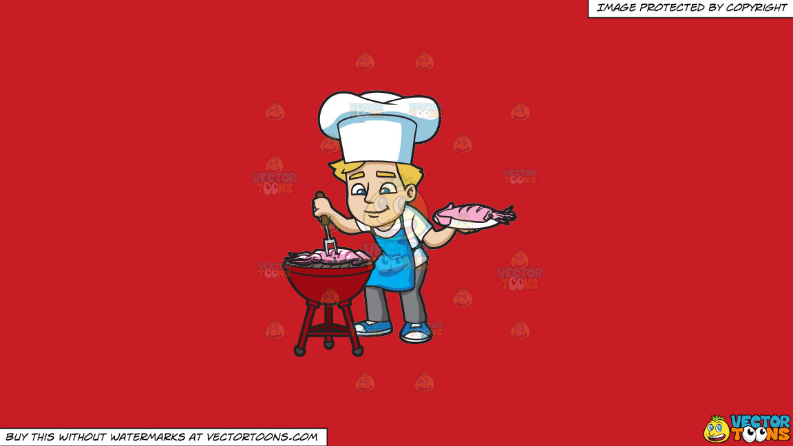 A Man Grilling Seafood On A Solid Fire Engine Red C81d25 Background thumbnail