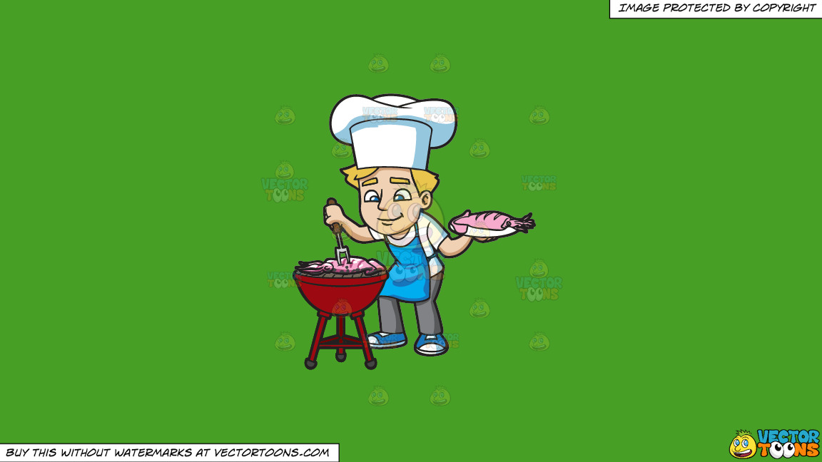 A Man Grilling Seafood On A Solid Kelly Green 47a025 Background thumbnail