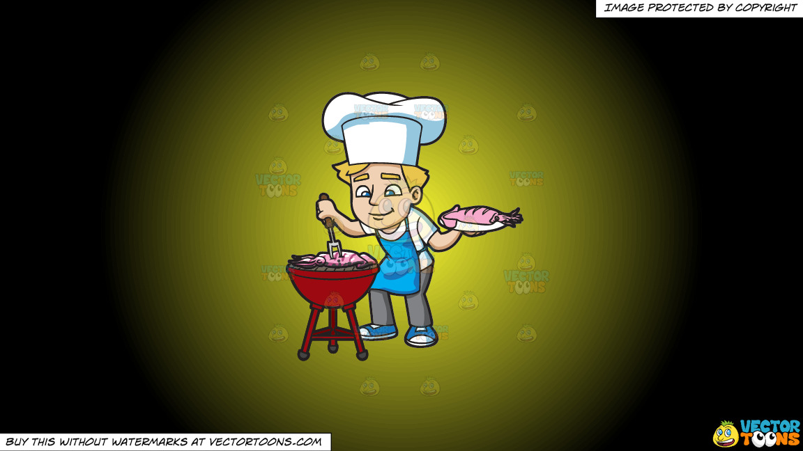 A Man Grilling Seafood On A Yellow And Black Gradient Background thumbnail