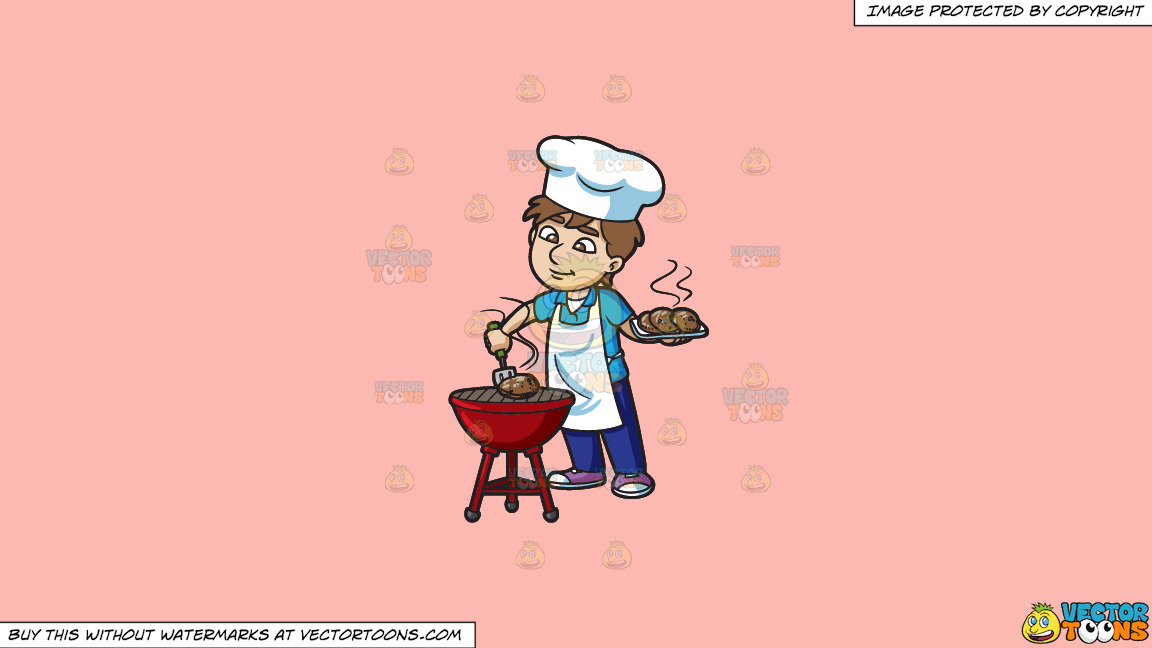 A Man Grilling Some Burger Patties On A Solid Melon Fcb9b2 Background thumbnail