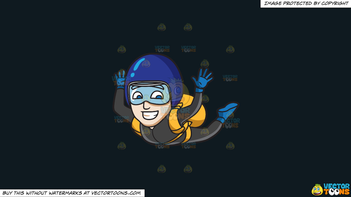 A Man Grins While Skydiving On A Solid Off Black 0f1a20 Background thumbnail