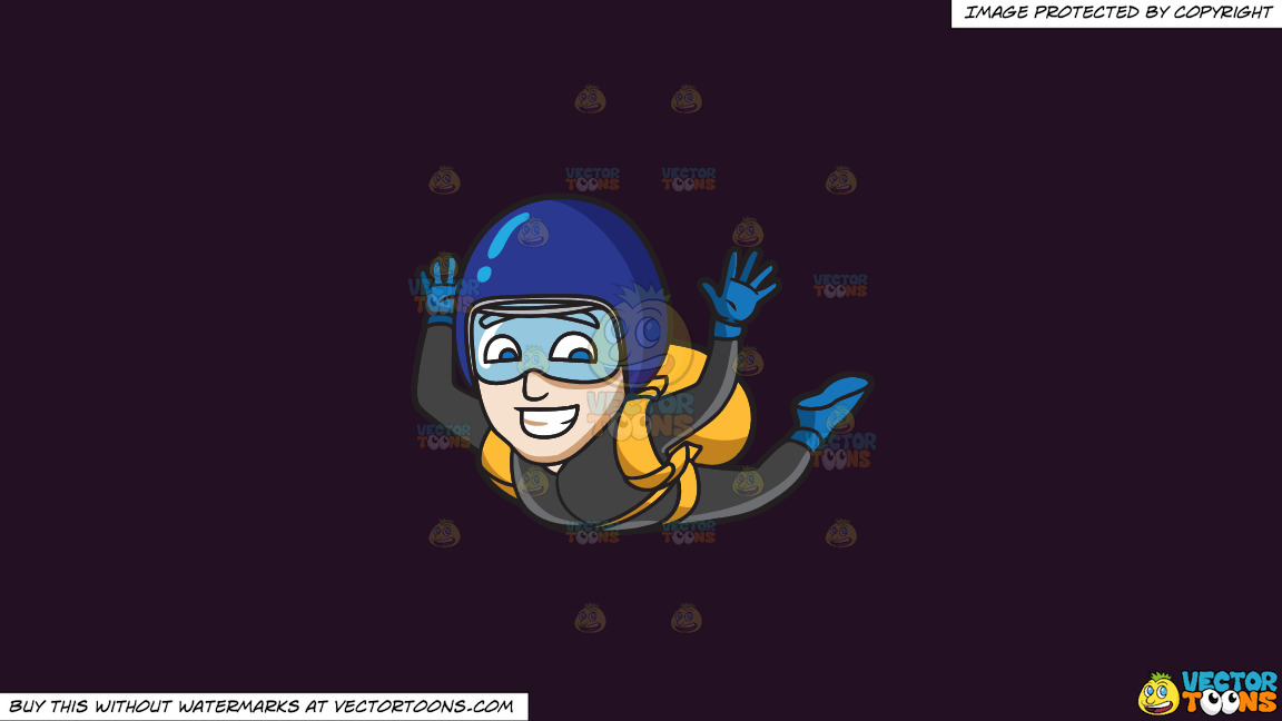 A Man Grins While Skydiving On A Solid Purple Rasin 241023 Background thumbnail