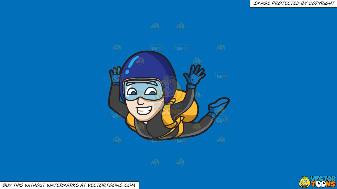A Man Grins While Skydiving On A Solid Spanish Blue 016fb9 Background thumbnail
