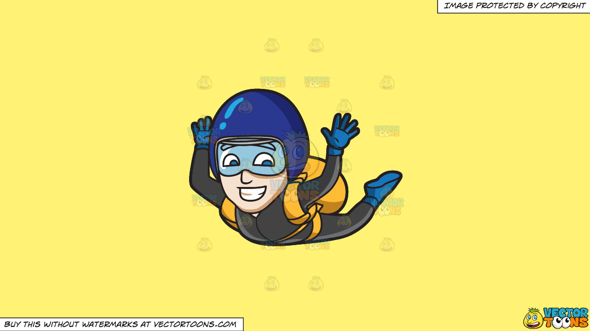 A Man Grins While Skydiving On A Solid Sunny Yellow Fff275 Background thumbnail