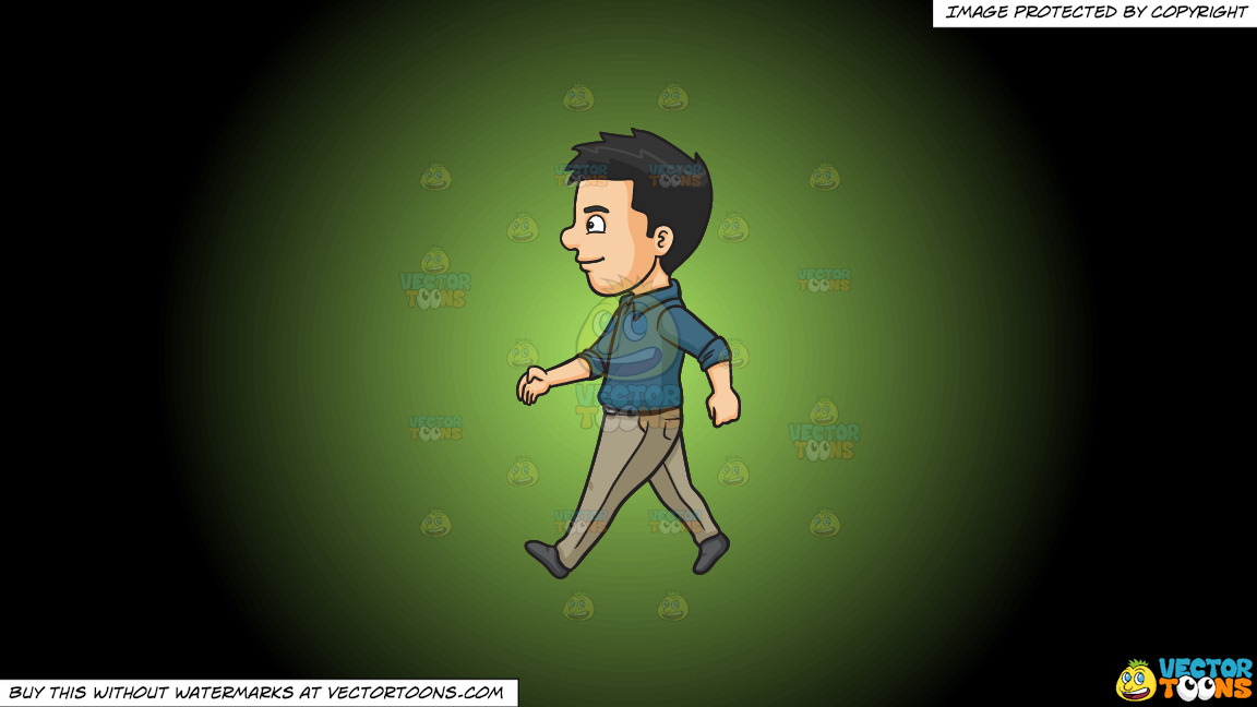A Man Happily Walks Alone On A Green And Black Gradient Background thumbnail