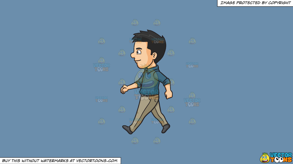 A Man Happily Walks Alone On A Solid Shadow Blue 6c8ead Background thumbnail