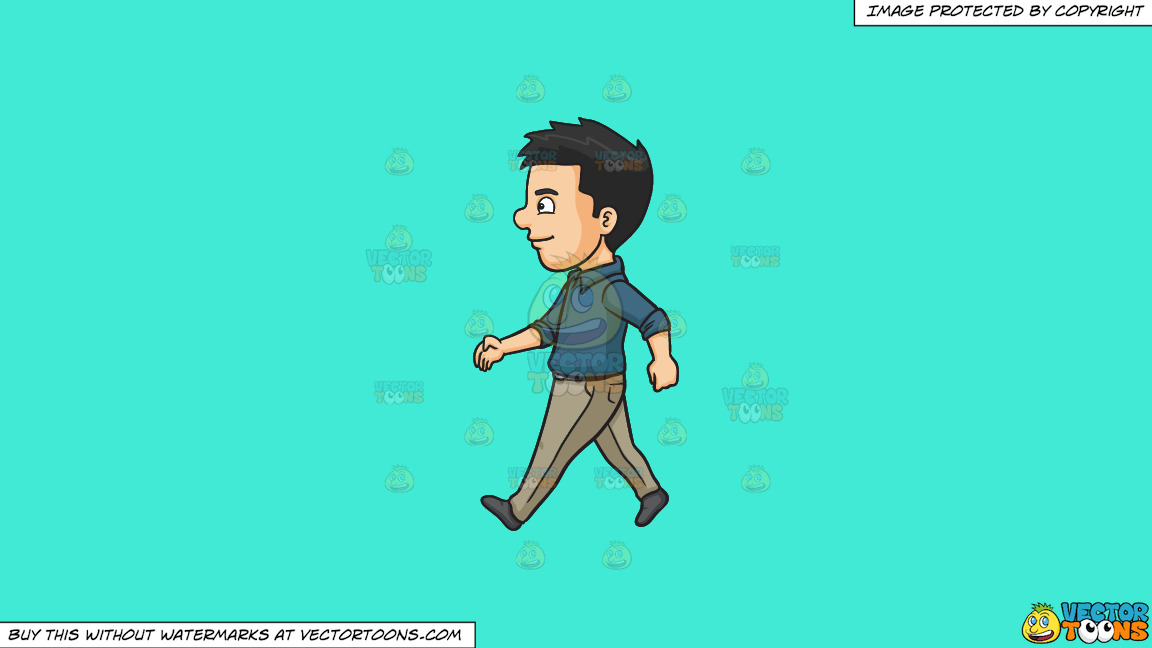 A Man Happily Walks Alone On A Solid Turquiose 41ead4 Background thumbnail