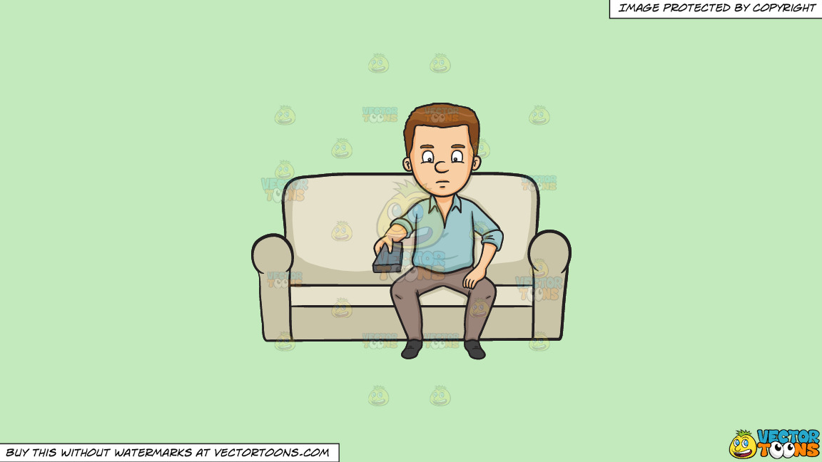 A Man Holding A Remote Control On A Solid Tea Green C2eabd Background thumbnail