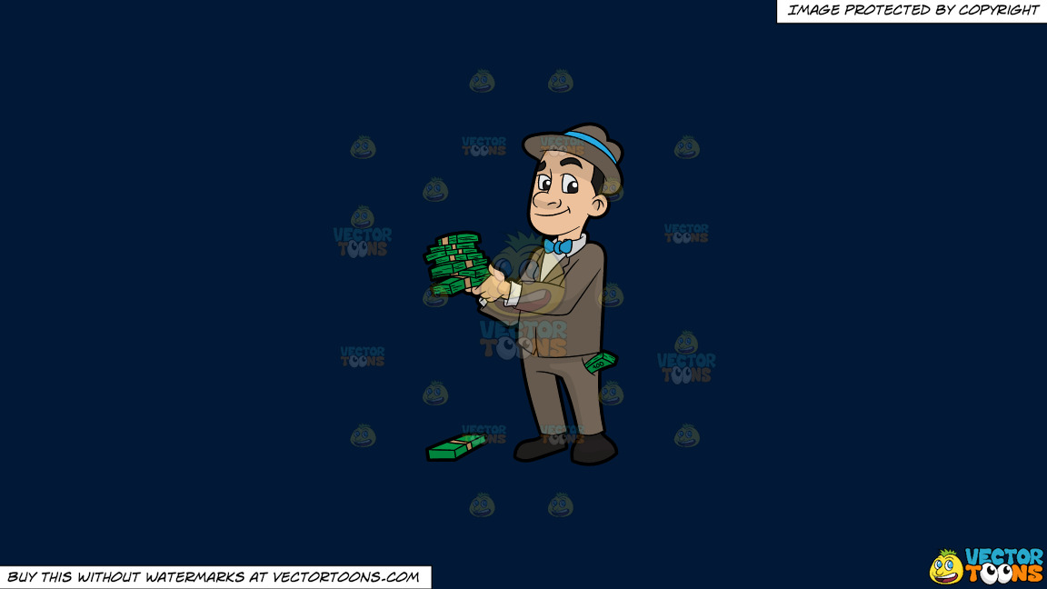A Man Holding Several Bundles Of Cash In His Hands On A Solid Dark Blue 011936 Background thumbnail