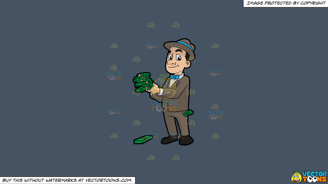 A Man Holding Several Bundles Of Cash In His Hands On A Solid Metal Grey 465362 Background thumbnail