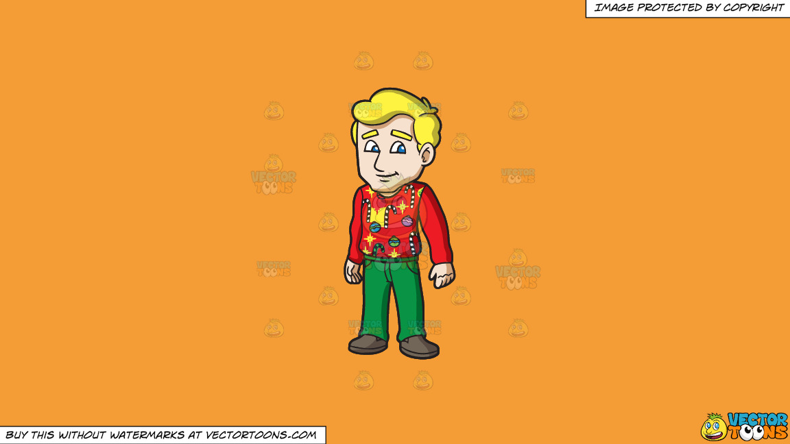 A Man In An Ugly Christmas Sweater On A Solid Deep Saffron Gold F49d37 Background thumbnail