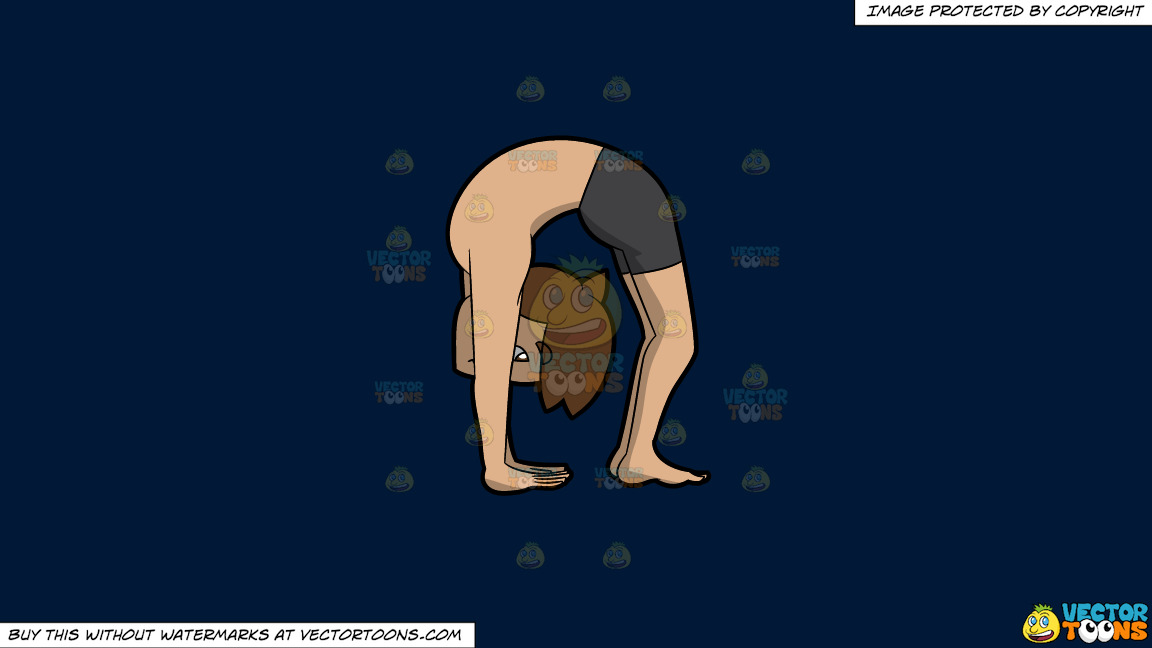 A Man In The Upward Wheel Yoga Pose On A Solid Dark Blue 011936 Background thumbnail