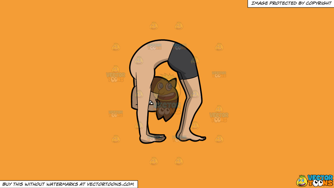 A Man In The Upward Wheel Yoga Pose On A Solid Deep Saffron Gold F49d37 Background thumbnail
