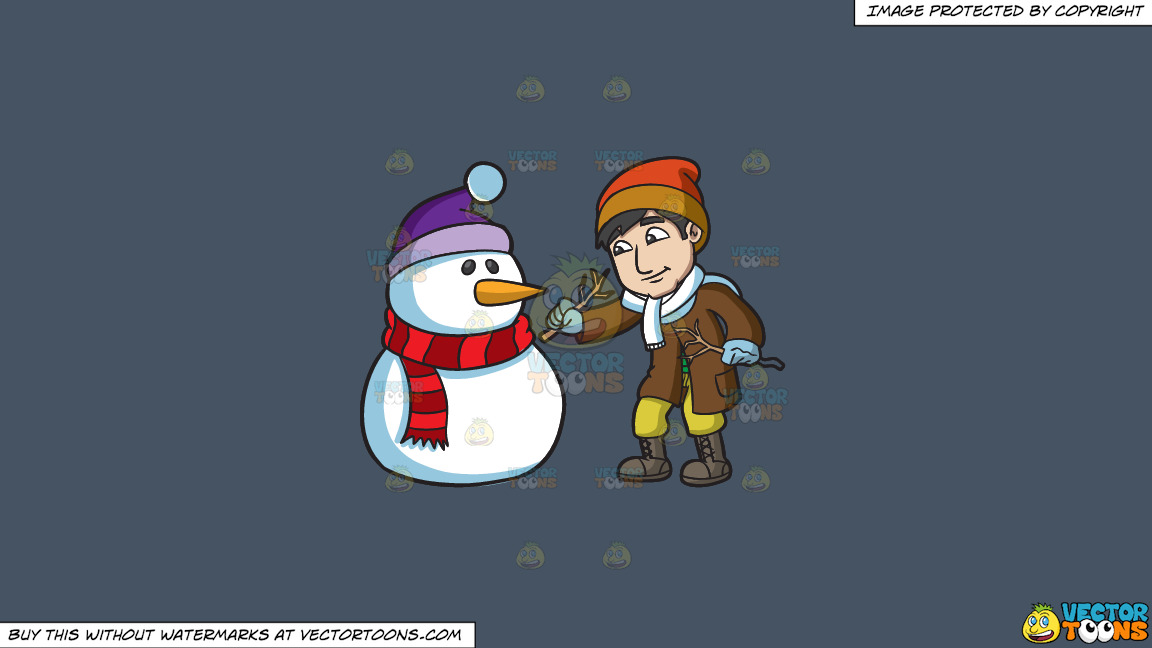 A Man Installing Arms On The Snowman On A Solid Metal Grey 465362 Background thumbnail