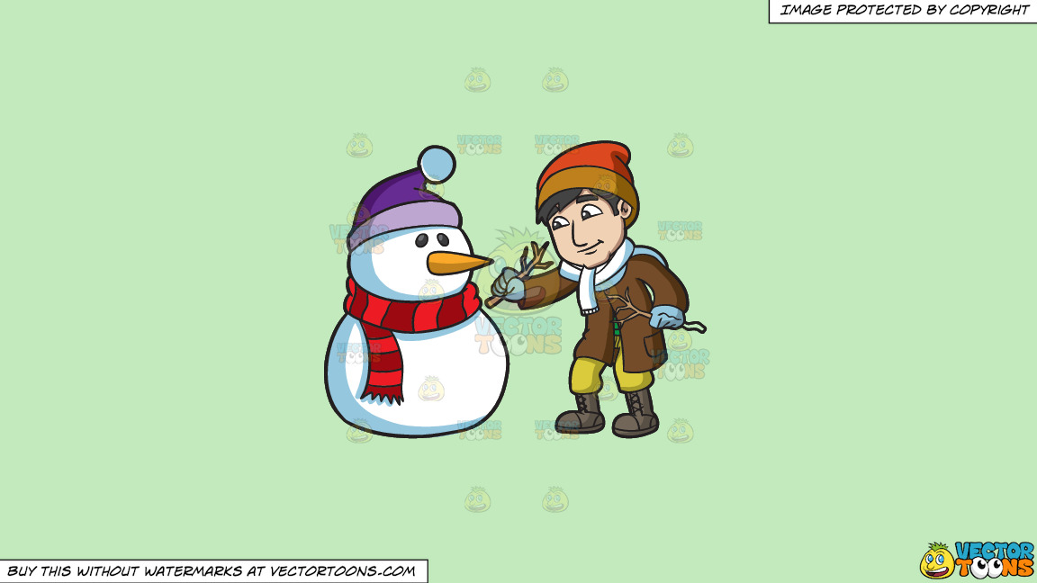 A Man Installing Arms On The Snowman On A Solid Tea Green C2eabd Background thumbnail