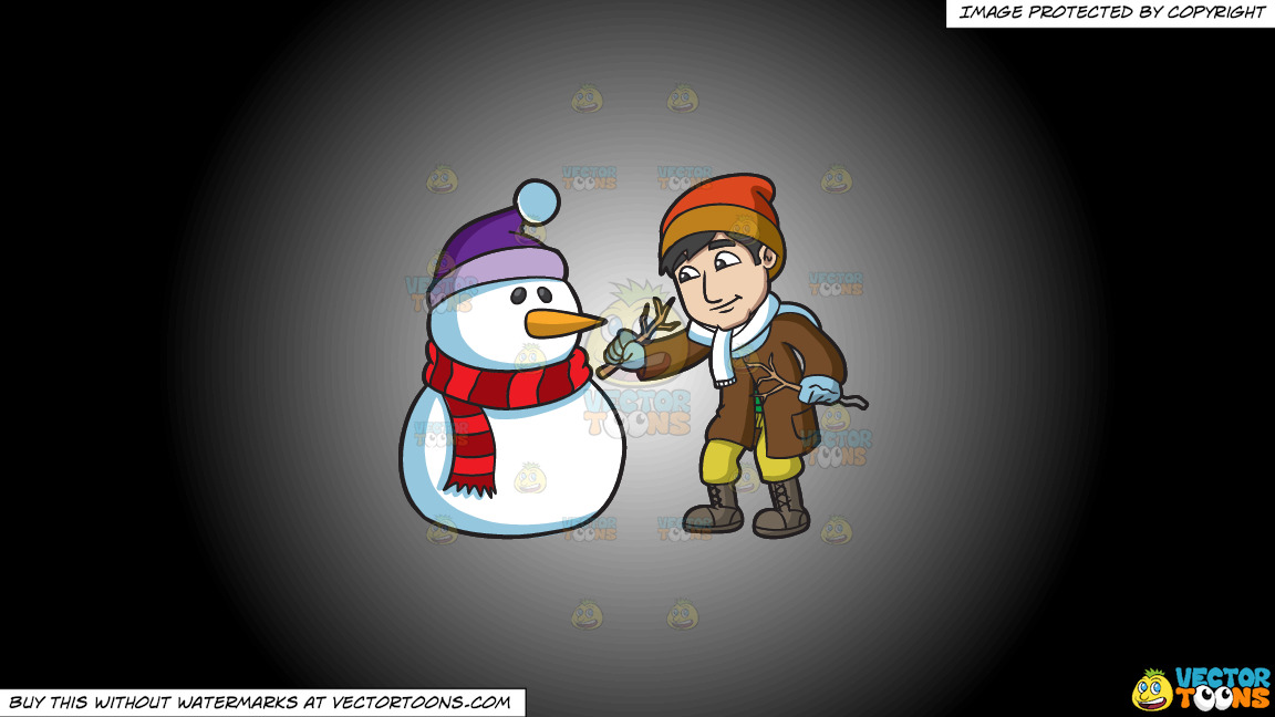 A Man Installing Arms On The Snowman On A White And Black Gradient Background thumbnail